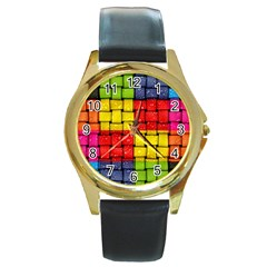 Pinterest Water Colorfull Round Gold Metal Watch