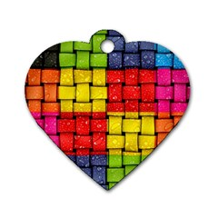 Pinterest Water Colorfull Dog Tag Heart (One Side)