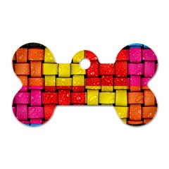 Pinterest Water Colorfull Dog Tag Bone (One Side)