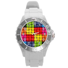 Pinterest Water Colorfull Round Plastic Sport Watch (L)