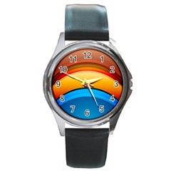 Rainbow Color Round Metal Watch