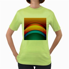 Rainbow Color Women s Green T-Shirt