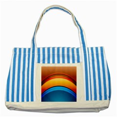 Rainbow Color Striped Blue Tote Bag