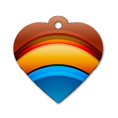 Rainbow Color Dog Tag Heart (One Side)