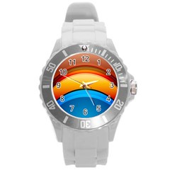 Rainbow Color Round Plastic Sport Watch (L)