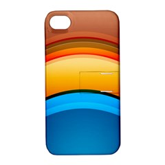 Rainbow Color Apple iPhone 4/4S Hardshell Case with Stand