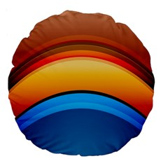 Rainbow Color Large 18  Premium Flano Round Cushions