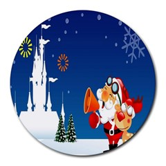 Santa Claus Reindeer Horn Castle Trees Christmas Holiday Round Mousepads
