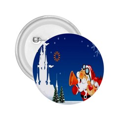 Santa Claus Reindeer Horn Castle Trees Christmas Holiday 2.25  Buttons