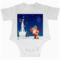 Santa Claus Reindeer Horn Castle Trees Christmas Holiday Infant Creepers