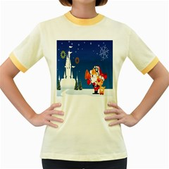 Santa Claus Reindeer Horn Castle Trees Christmas Holiday Women s Fitted Ringer T-Shirts