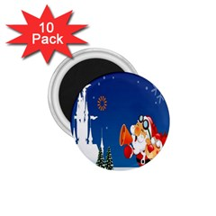 Santa Claus Reindeer Horn Castle Trees Christmas Holiday 1.75  Magnets (10 pack)