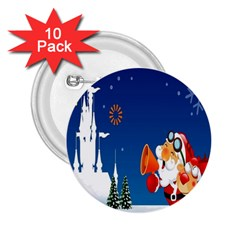 Santa Claus Reindeer Horn Castle Trees Christmas Holiday 2.25  Buttons (10 pack)