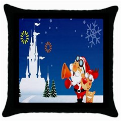 Santa Claus Reindeer Horn Castle Trees Christmas Holiday Throw Pillow Case (Black)