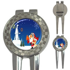 Santa Claus Reindeer Horn Castle Trees Christmas Holiday 3-in-1 Golf Divots