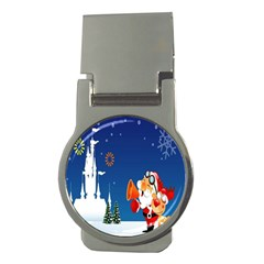 Santa Claus Reindeer Horn Castle Trees Christmas Holiday Money Clips (Round)