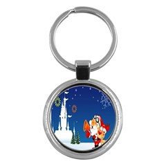 Santa Claus Reindeer Horn Castle Trees Christmas Holiday Key Chains (Round)