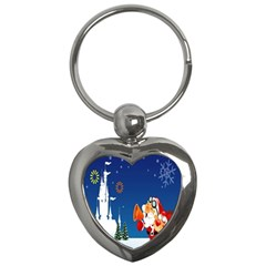 Santa Claus Reindeer Horn Castle Trees Christmas Holiday Key Chains (Heart)