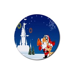 Santa Claus Reindeer Horn Castle Trees Christmas Holiday Rubber Round Coaster (4 pack)