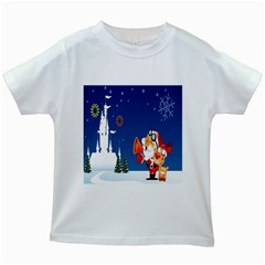 Santa Claus Reindeer Horn Castle Trees Christmas Holiday Kids White T-Shirts