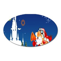 Santa Claus Reindeer Horn Castle Trees Christmas Holiday Oval Magnet