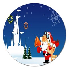 Santa Claus Reindeer Horn Castle Trees Christmas Holiday Magnet 5  (Round)