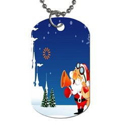 Santa Claus Reindeer Horn Castle Trees Christmas Holiday Dog Tag (Two Sides)