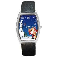 Santa Claus Reindeer Horn Castle Trees Christmas Holiday Barrel Style Metal Watch