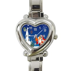 Santa Claus Reindeer Horn Castle Trees Christmas Holiday Heart Italian Charm Watch