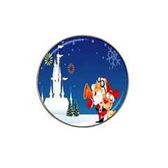 Santa Claus Reindeer Horn Castle Trees Christmas Holiday Hat Clip Ball Marker (4 pack)