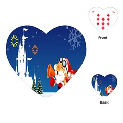 Santa Claus Reindeer Horn Castle Trees Christmas Holiday Playing Cards (Heart)