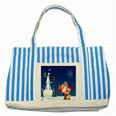 Santa Claus Reindeer Horn Castle Trees Christmas Holiday Striped Blue Tote Bag