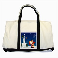 Santa Claus Reindeer Horn Castle Trees Christmas Holiday Two Tone Tote Bag