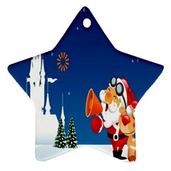 Santa Claus Reindeer Horn Castle Trees Christmas Holiday Star Ornament (Two Sides)