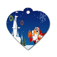 Santa Claus Reindeer Horn Castle Trees Christmas Holiday Dog Tag Heart (Two Sides)