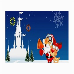 Santa Claus Reindeer Horn Castle Trees Christmas Holiday Small Glasses Cloth (2-Side)