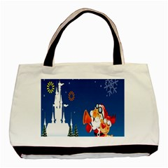 Santa Claus Reindeer Horn Castle Trees Christmas Holiday Basic Tote Bag (Two Sides)