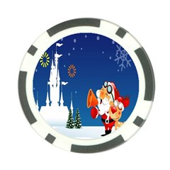 Santa Claus Reindeer Horn Castle Trees Christmas Holiday Poker Chip Card Guards