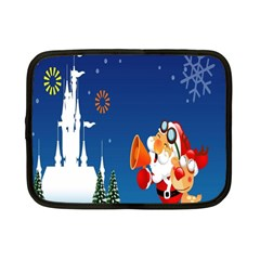 Santa Claus Reindeer Horn Castle Trees Christmas Holiday Netbook Case (Small)