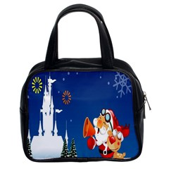 Santa Claus Reindeer Horn Castle Trees Christmas Holiday Classic Handbags (2 Sides)
