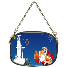 Santa Claus Reindeer Horn Castle Trees Christmas Holiday Chain Purses (One Side)