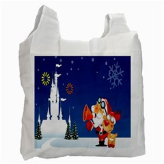 Santa Claus Reindeer Horn Castle Trees Christmas Holiday Recycle Bag (Two Side)