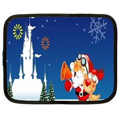 Santa Claus Reindeer Horn Castle Trees Christmas Holiday Netbook Case (XL)