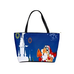 Santa Claus Reindeer Horn Castle Trees Christmas Holiday Shoulder Handbags