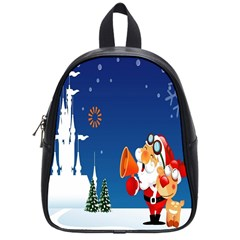 Santa Claus Reindeer Horn Castle Trees Christmas Holiday School Bags (Small)