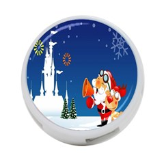 Santa Claus Reindeer Horn Castle Trees Christmas Holiday 4-Port USB Hub (Two Sides)