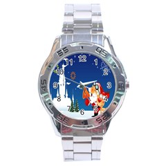 Santa Claus Reindeer Horn Castle Trees Christmas Holiday Stainless Steel Analogue Watch