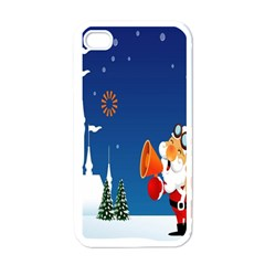 Santa Claus Reindeer Horn Castle Trees Christmas Holiday Apple iPhone 4 Case (White)