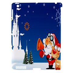 Santa Claus Reindeer Horn Castle Trees Christmas Holiday Apple iPad 3/4 Hardshell Case (Compatible with Smart Cover)