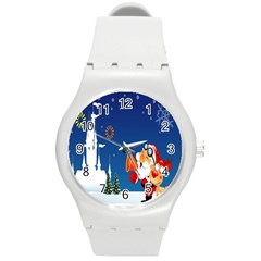 Santa Claus Reindeer Horn Castle Trees Christmas Holiday Round Plastic Sport Watch (M)